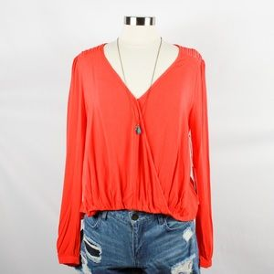 Tops - 🌸🌵🌼Onetheland | Red LS Blouse L NWT